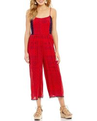Patrons Of Peace | Printed Tie Back Cropped Jumpsuit | Lyst