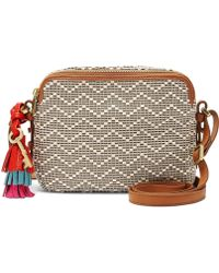 Fossil Piper Tasseled Chevron-striped Cross-body Bag - Brown