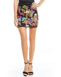 ac0126586 Nicole Miller Artelier - Jungle Embroidered Mini Leather Skirt - Lyst