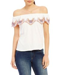 Banjara - Off-the-shoulder Embroidered Ruffle Top - Lyst