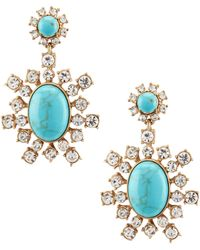 Belle By Badgley Mischka - Pavé Turquoise Drop Earrings - Lyst