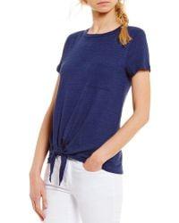 Soprano Round Neck Short-sleeve Tie-front Knit Tee - Blue
