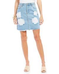 Blu Pepper - Destructed Denim Frayed Hem Skirt - Lyst