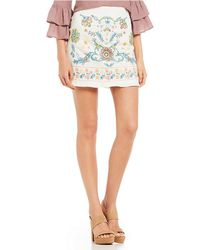 Blu Pepper - Embroidered-detail Miniskirt - Lyst