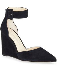 Jessica Simpson - Moyra Suede Ankle-strap Wedges - Lyst