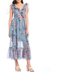 4ef32ba9c26 French Connection - Cecile Floral Print Surplice Ruffle V-neck Maxi Dress -  Lyst