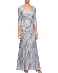 Alex Evenings Scoop Neck Illusion Sleeve Sequin A-line Gown - Multicolour