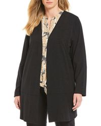 Ruby Rd. - Plus Size Open Front Solid Knit Cardigan - Lyst