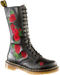 Dr. Martens - Vonda Rose-embroidered Combat Boots - Lyst