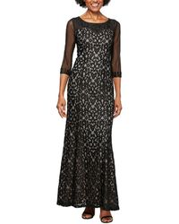 Alex Evenings Lace Beaded Illusion Evening Gown - Black