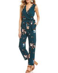 June & Hudson - V-neck Floral Jumpsuit - Lyst