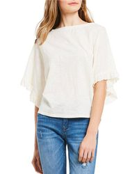 Chelsea & Violet - Ruffle Sleeve Knit Top - Lyst