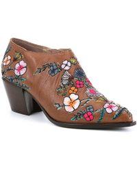 Donald J Pliner - Rieta Leather Floral Block Heel Booties - Lyst