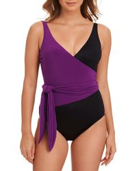 Magicsuit - Slimming Colorblocked Wrap-front One-piece Swimsuit - Lyst