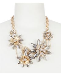 Belle By Badgley Mischka - Small Glitzy Flower Frontal Necklace - Lyst