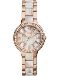 Fossil - Virginia Stainless Steel Glitz Bracelet Watch - Lyst