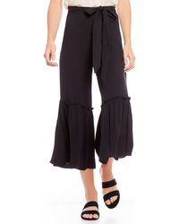 Chelsea & Violet Ruffle Tie Waist Wide Leg Pant - Black