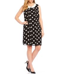 Cece Plus Size Sleeveless Peter Pan Collar Polka Dot Shift Dress - Black