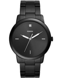 Fossil - The Minimalist Carbon Series Three-hand Black Stainless Steel Watch - Lyst