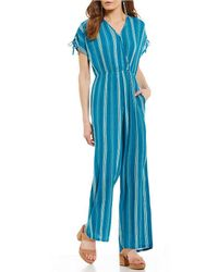 Band Of Gypsies | Pinstripe V-neck Jumpsuit | Lyst