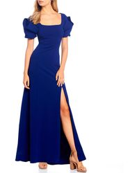 Belle By Badgley Mischka Juliana Statement Puff Sleeve Square Neck Slit Front Gown - Blue