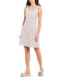 Cece - Sleeveless Striped Rib Knit Tiered Dress - Lyst