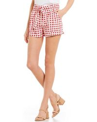 Jolt - Gingham High Waisted Paper Bag Tie Shorts - Lyst