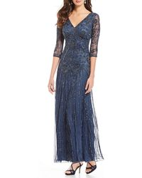 Pisarro Nights - Floral Scroll Beaded V-neck 3/4 Sleeve Gown - Lyst
