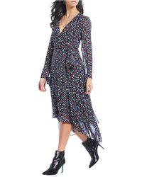 023eb3e34e7 Donna Morgan Floral Print Ruffle Hem Midi Wrap Dress in Gray - Lyst