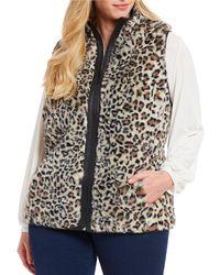 Ruby Rd. - Plus Size Leopard Print Faux Leather Trim Reversible Zip Front Vest - Lyst