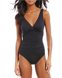 Lauren by Ralph Lauren | Beach Club Solids Underwire Twist Front One-piece | Lyst