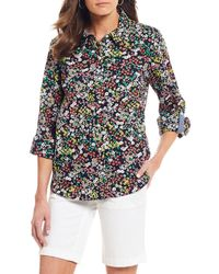 8274683f0 Tommy Hilfiger - Flower Market Print Roll-tab Sleeve Button Front Shirt -  Lyst