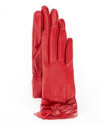 Badgley Mischka Leather Bow Tie Glove - Red