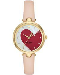f1dbb77e023 Lyst - Kate Spade New York Leather Strap 3 Hand Analog Stainless ...