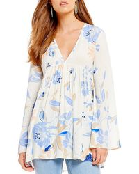Free People - Bella Woven Floral Print Tunic Top - Lyst