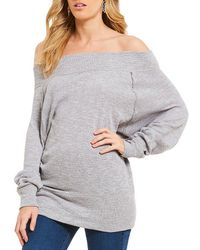 Free People Palisades Thermal Off-the-shoulder Tunic Top - Gray