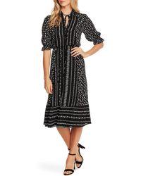 Cece Ruffle Sleeve Floral Midi Dress - Black