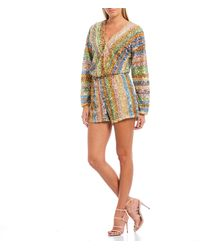 Endless Rose Faux Wrap Long Sleeve Rainbow Striped Allover Sequins Romper - Multicolor