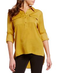 Kenneth Cole Button Down Roll Tab Sleeve Tunic