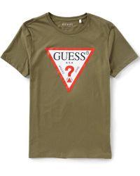 Guess - Short Sleeve Triangle Logo T-shirt - Lyst