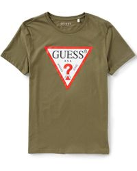 792871a7 Guess Short Sleeve Oversized Triangle Logo Tee in White for Men - Lyst
