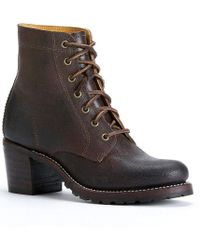 Frye - Sabrina 6g Leather Lace Up Block Heel Short Boots - Lyst