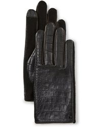 Lauren by Ralph Lauren - Ladies' Embossed-leather Hybrid Gloves - Lyst