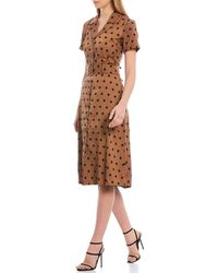 Lucy Paris Polka Dot Button Front Short Sleeve Trench Dress - Brown