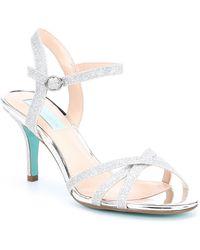 3a908a0c995 Betsey Johnson Blue By Jayce Metallic Ankle Strap Glitter Block Heel ...