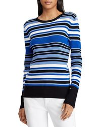 Lauren by Ralph Lauren - Striped Cotton Blend Sweater - Lyst