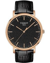 Tissot - Everytime Men's Black Leather Strap Watch - Lyst