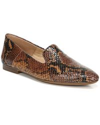 Naturalizer Lorna Collapsible Back Snake Print Leather Flats - Brown
