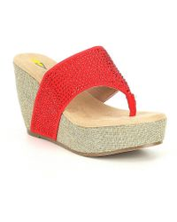 Volatile - Majestic Thong Wedge Sandals - Lyst