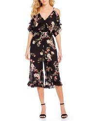 Patrons Of Peace | Floral Printed Cold-shoulder Ruflle Culotte Jumpsuit | Lyst